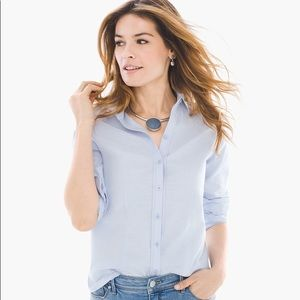 NWT Chico's wrinkle resistant light blue top